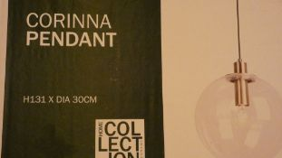 Boxed Home Collection Corinna Glass Pendant Light RRP £90 (Customer Return)