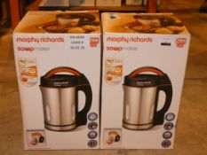 Lot to Contain 2 Boxed Morphy Richards Stainless Steel Soup Makers Combined RRP £120