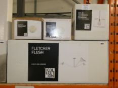 Lot to Contain 4 Assorted Lighting Items to Include a Home Collection Fletcher Flush Ceiling