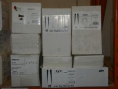 Lot to Contain 9 Assorted Lighting Items to Include 2 Dar Lighting AYR Flush Wall Lights, 4 Dar