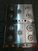 Lot to Contain 2 Assorted 5 Burner 70m Stainless Steel Natural Gas Hobs (Missing Parts)