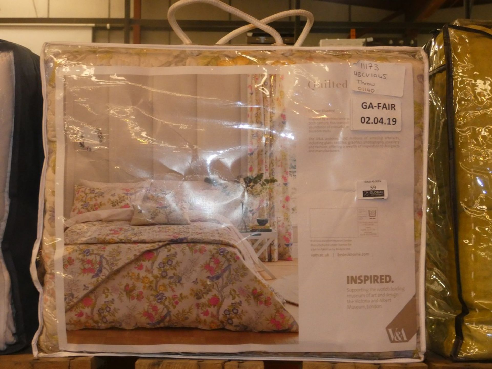 Lot 59 - Bagged VA Inspired Chinese Bluebird Quilted Throw RRP £115 (UBV13045)(11173)