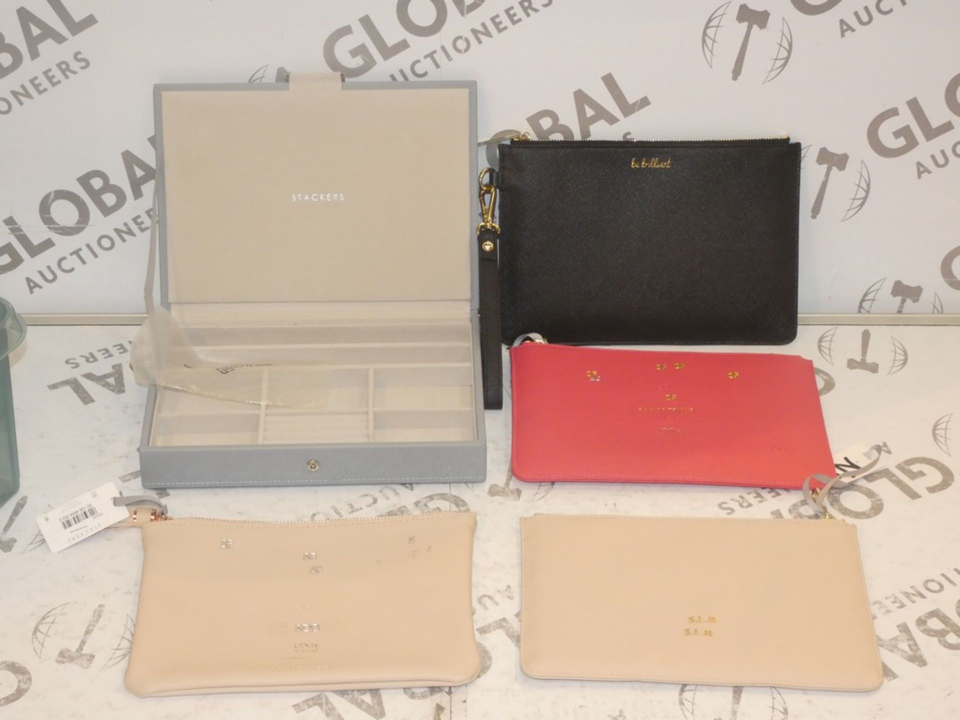 Lot 56 - Lot to Contain 6 Assorted Leather Make Up Wallets and Leather Stacking Jewellery Cases (770143)(