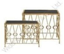 Hestia Black And Gold Console Table Set