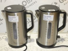 Lot to Contain 2 Unboxed John Lewis And Partners 1.7 Litre Brushed Stainless Steel Rapid Boil