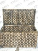 Boxed Fusion Dark Wash Water Hyacinth Trunk RRP £80 (2258183) (Viewings And Appraisals Highly