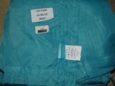 Lot to Contain 4 Gavino Cavalier Teal Blue Eyelet Headed Single Voile Curtains (Viewings And