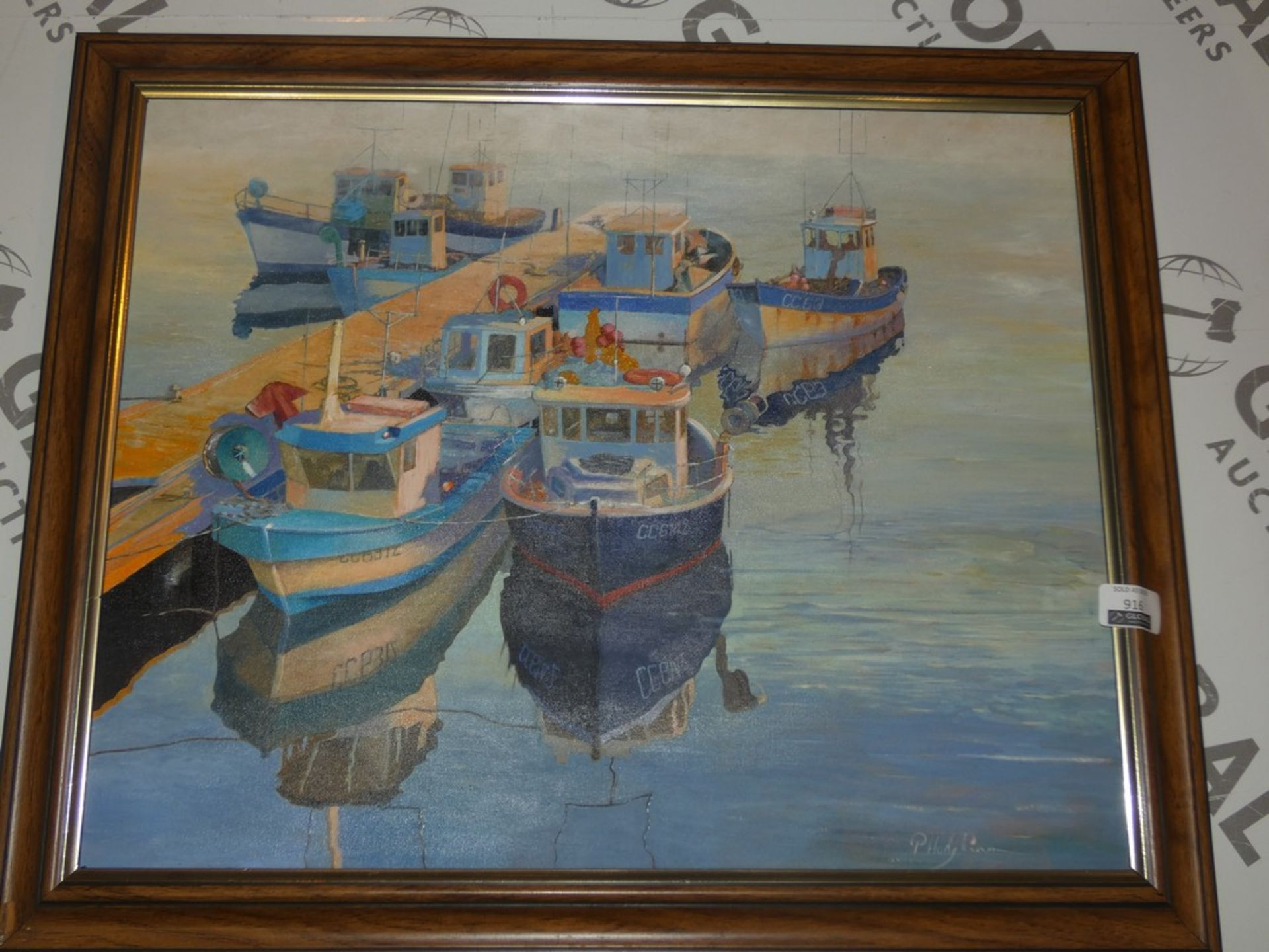 Lotto 916 - Boats Docking At Harbour - Artist, P. Hodgking. Framed Painted Print, No Glass. Estimated Value