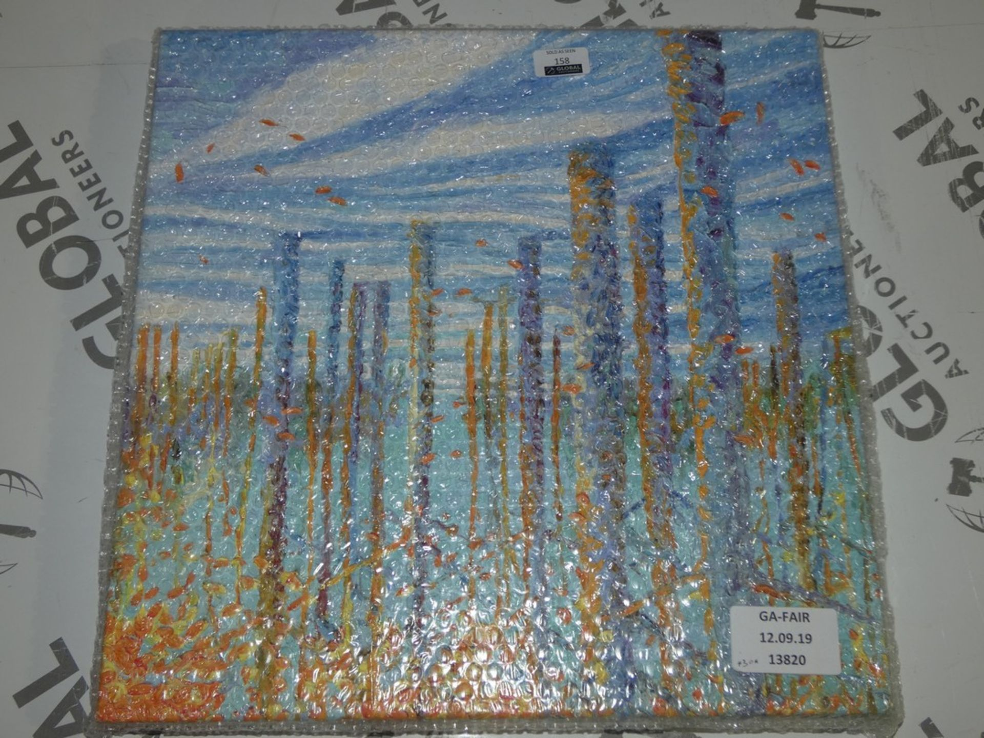 Lot 158 - Blue Abstract Canvas Wall Art Picture RRP £50 (13820) (Public Viewing and Appraisals Available)