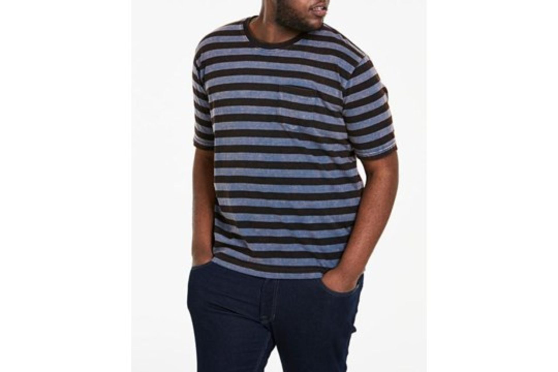 Lot 894 - Brand New Jackamo Blue and Black Stripe Designer T-Shirts RRP £10 Each