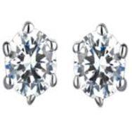 Platinum Diamond Earrings, Platinum 900, Weight 0.58g, Diamond Weight 0.5ct, Colour I, Clarity