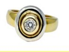 Two Tone Diamond Ring, 9ct Yellow/White Gold, Weight 5.21g, Diamond Weight 0.25ct, Colour H, Clarity