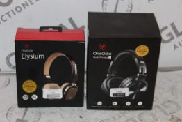 Lot to Contain 2 Boxed Pairs of One Odio Studio Wireless C and Elysium Bluetooth Headphones