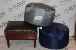 Lot to Contain 3 Assorted Brown Wooden and Leather Storage Footstools and Blue and Grey Mini Foot