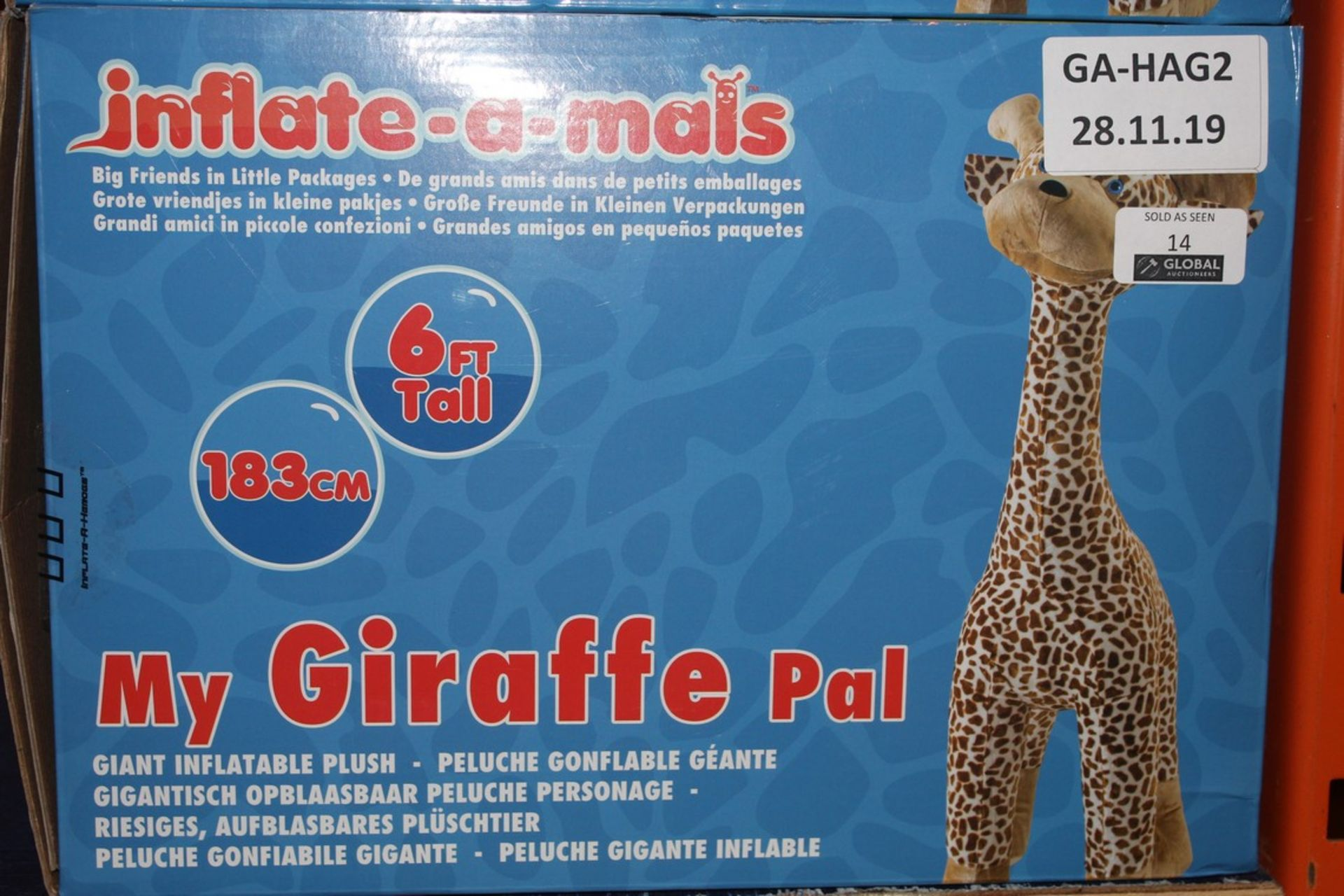 Lot 14 - Boxed 6ft Tall My Giraffe Giant Inflatable Pal RRP £35 (Public Viewing and Appraisals Available)
