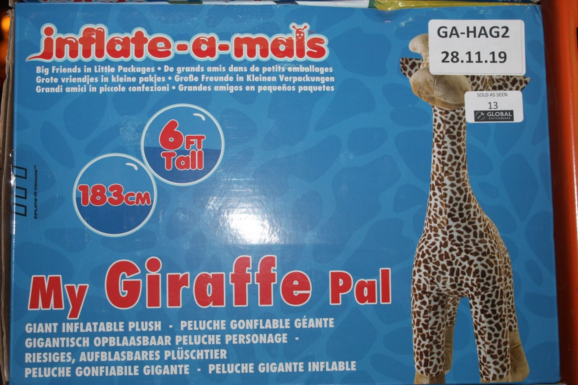 Lot 13 - Boxed 6ft Tall My Giraffe Giant Inflatable Pal RRP £35 (Public Viewing and Appraisals Available)