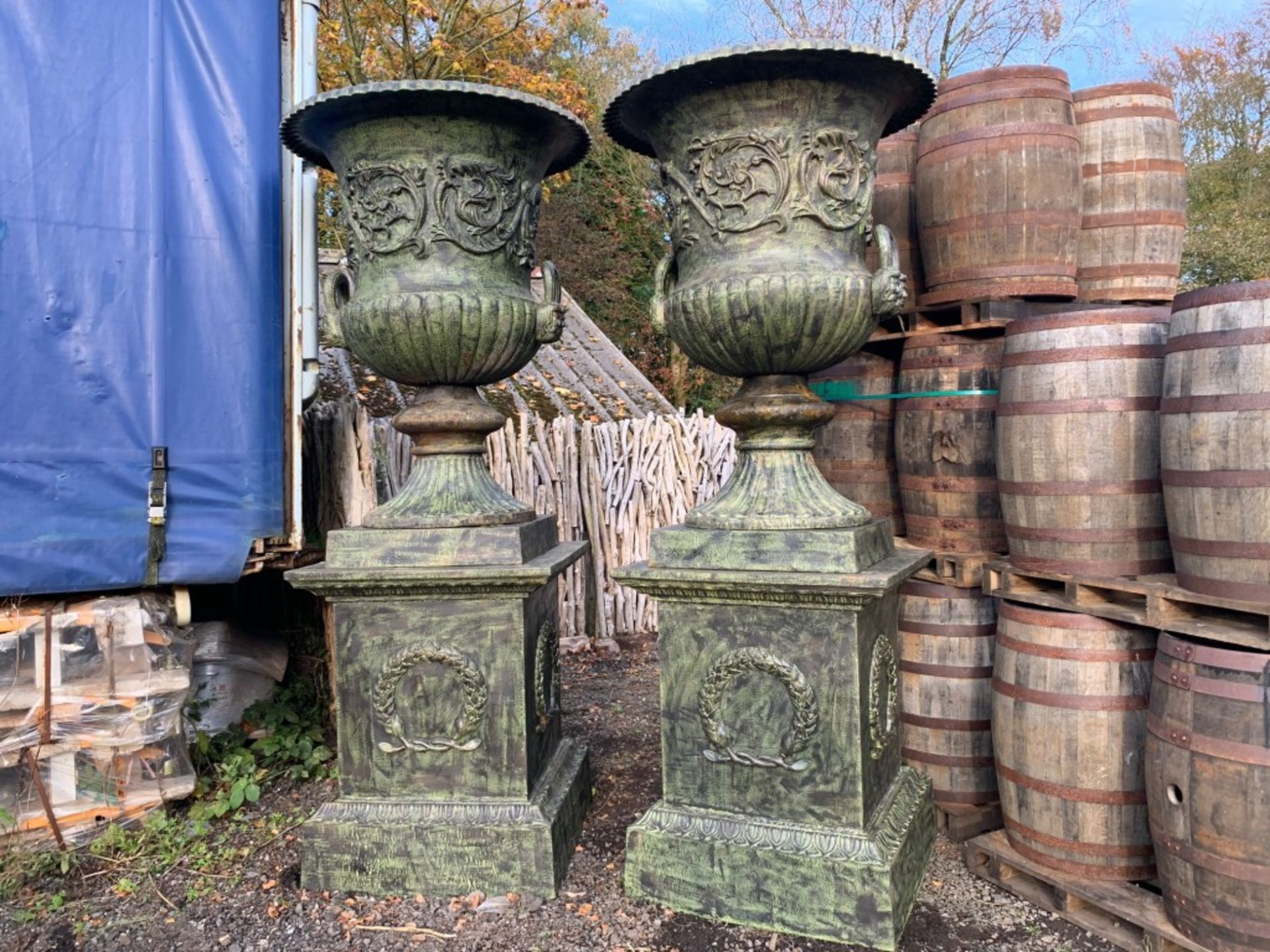 Lot 1 - 2.8M HIGH HUGE PAIR EXCEPTIONAL CAST IRON MONUMENTAL CAMPANA STYLE URNS ON PLINTH
