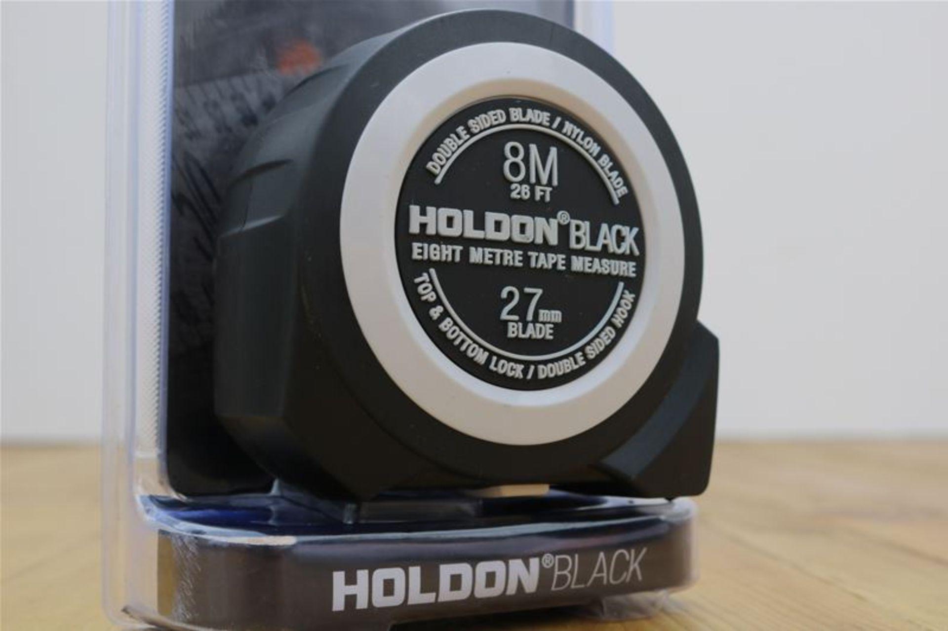 Lot 21 - 10 x HOLDON BLACK Heavy Duty 8M Tape Measure