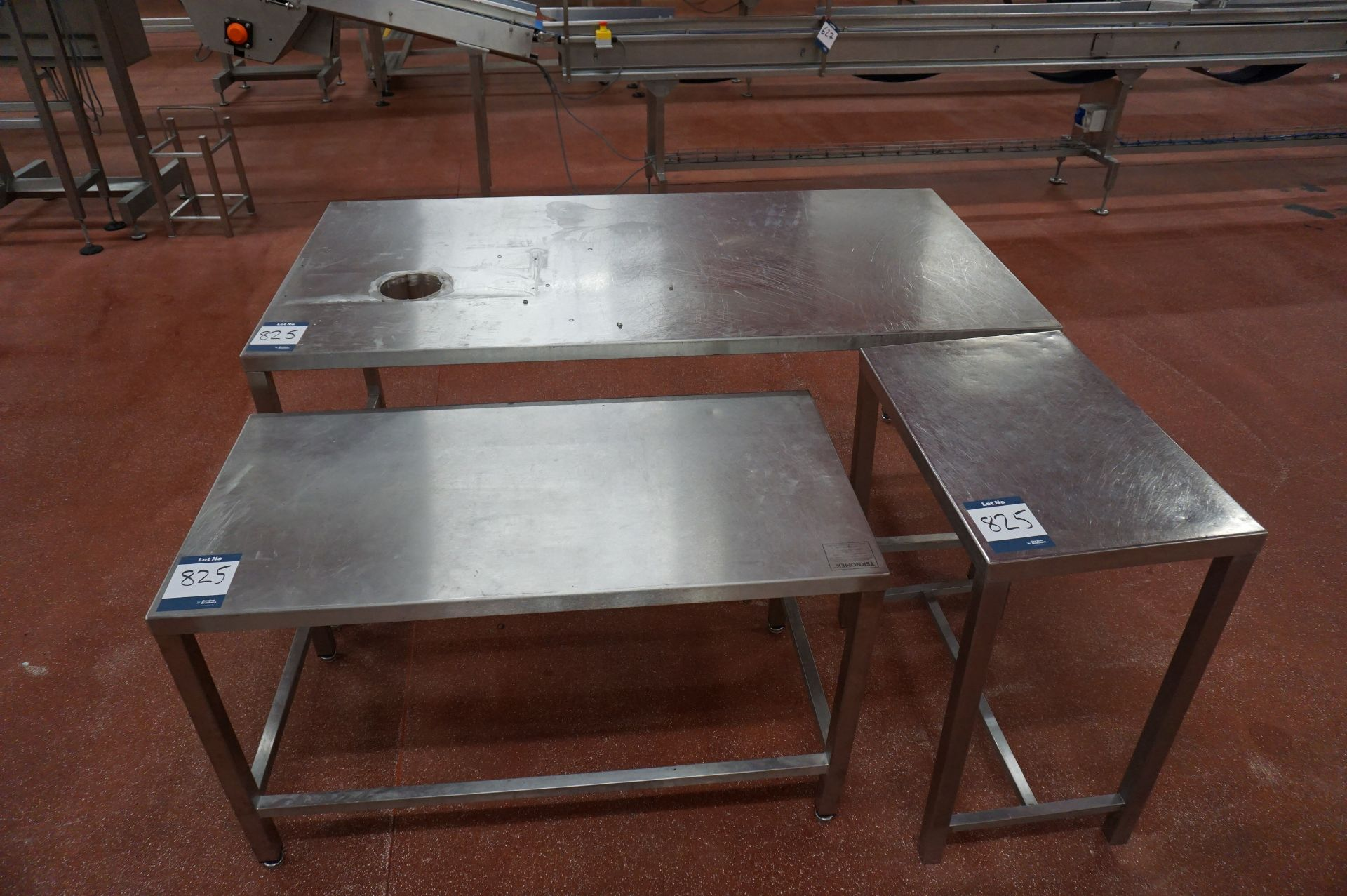 Lot 825 - 3 x Various stainless steel prep tables, as lotted