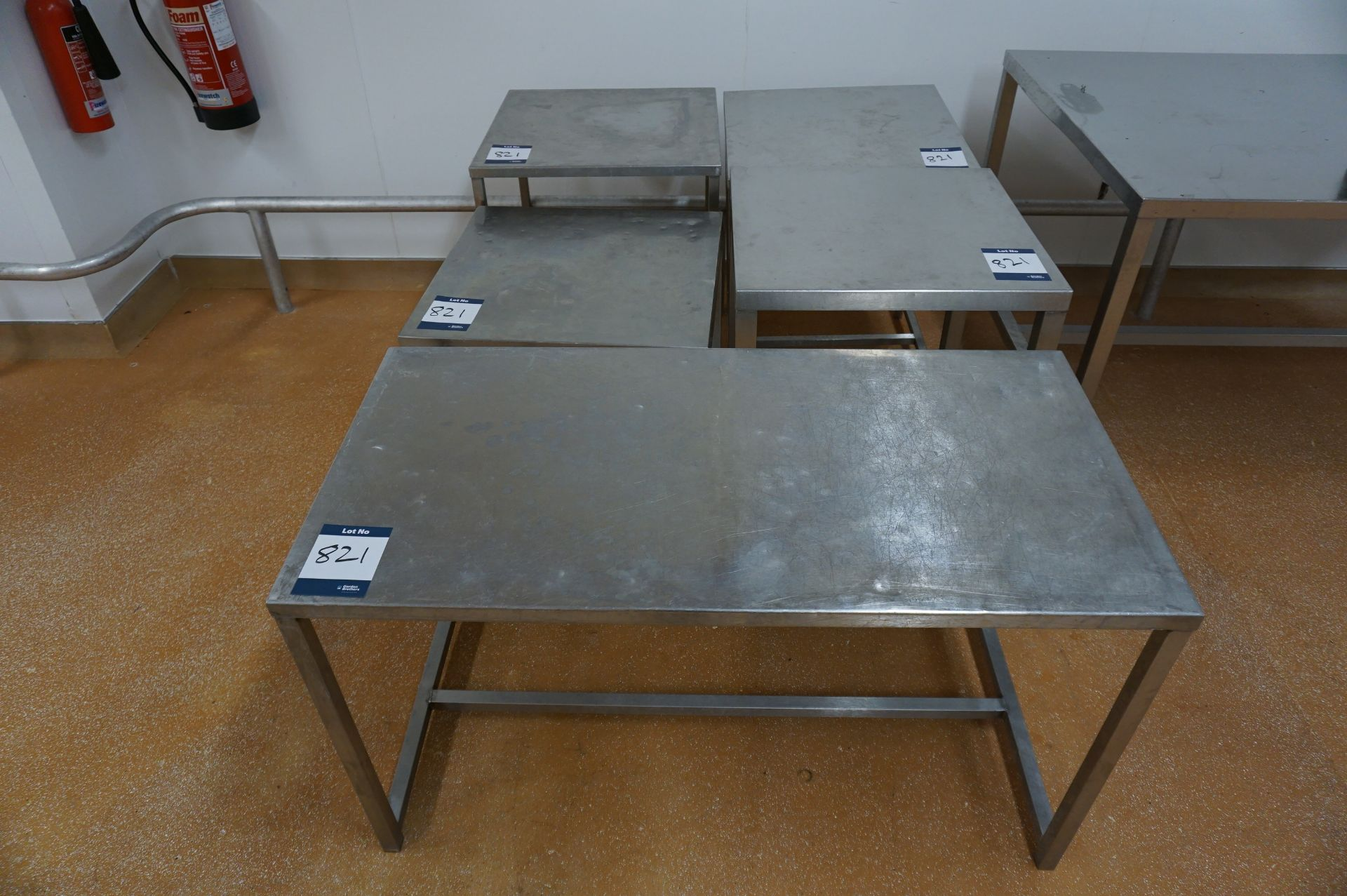 Lot 821 - 5 x Various stainless steel prep tables, as lotted