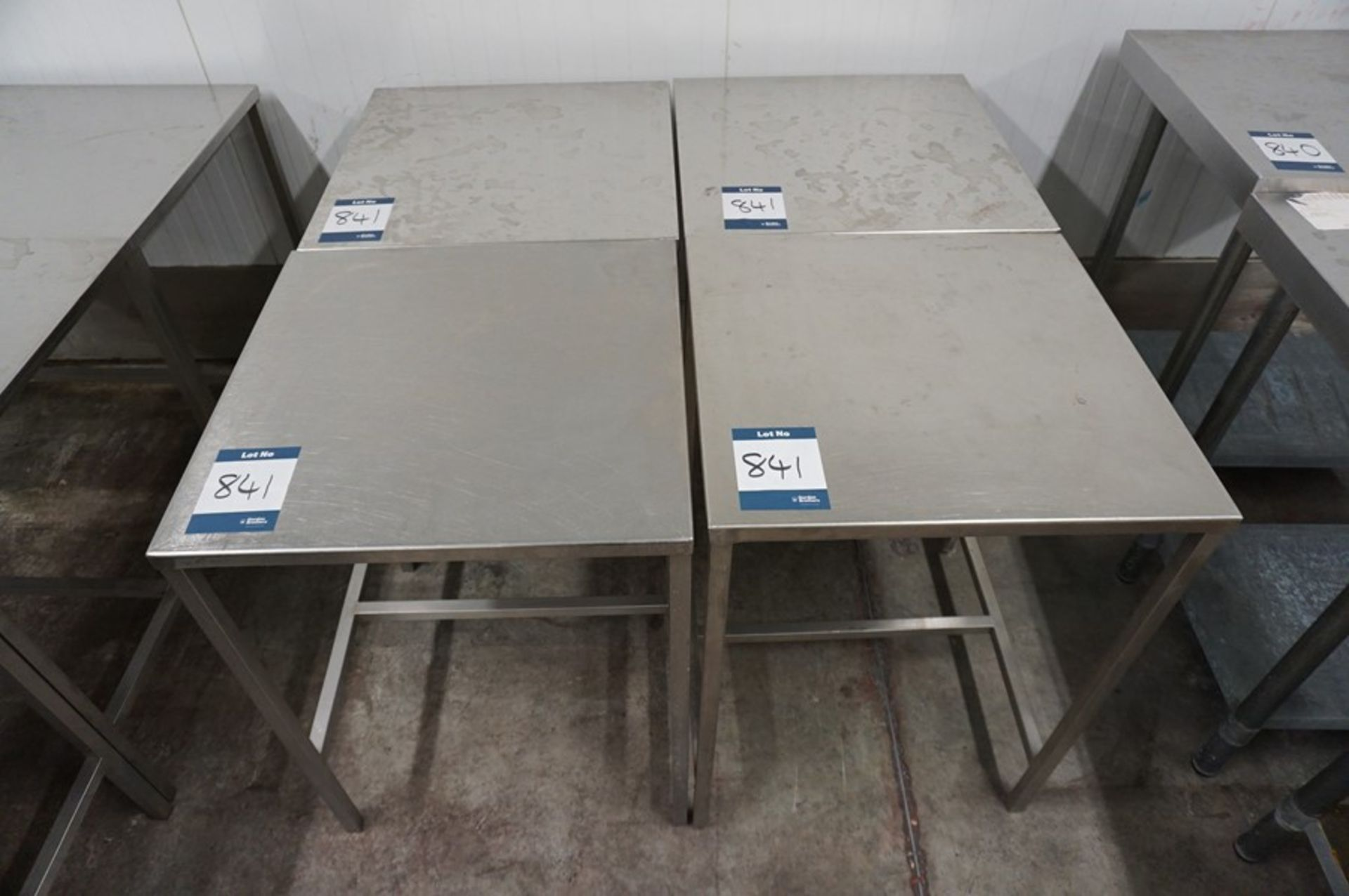 Lot 841 - 4 x Various stainless steel prep tables, as lotted