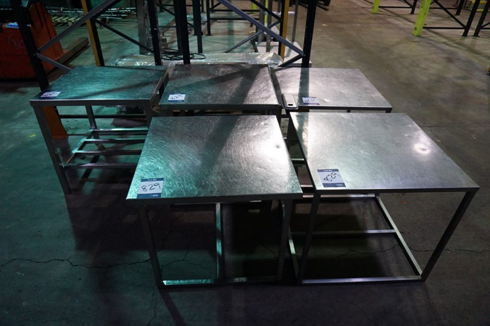 Lot 829 - 5 x Various stainless steel prep tables, as lotted