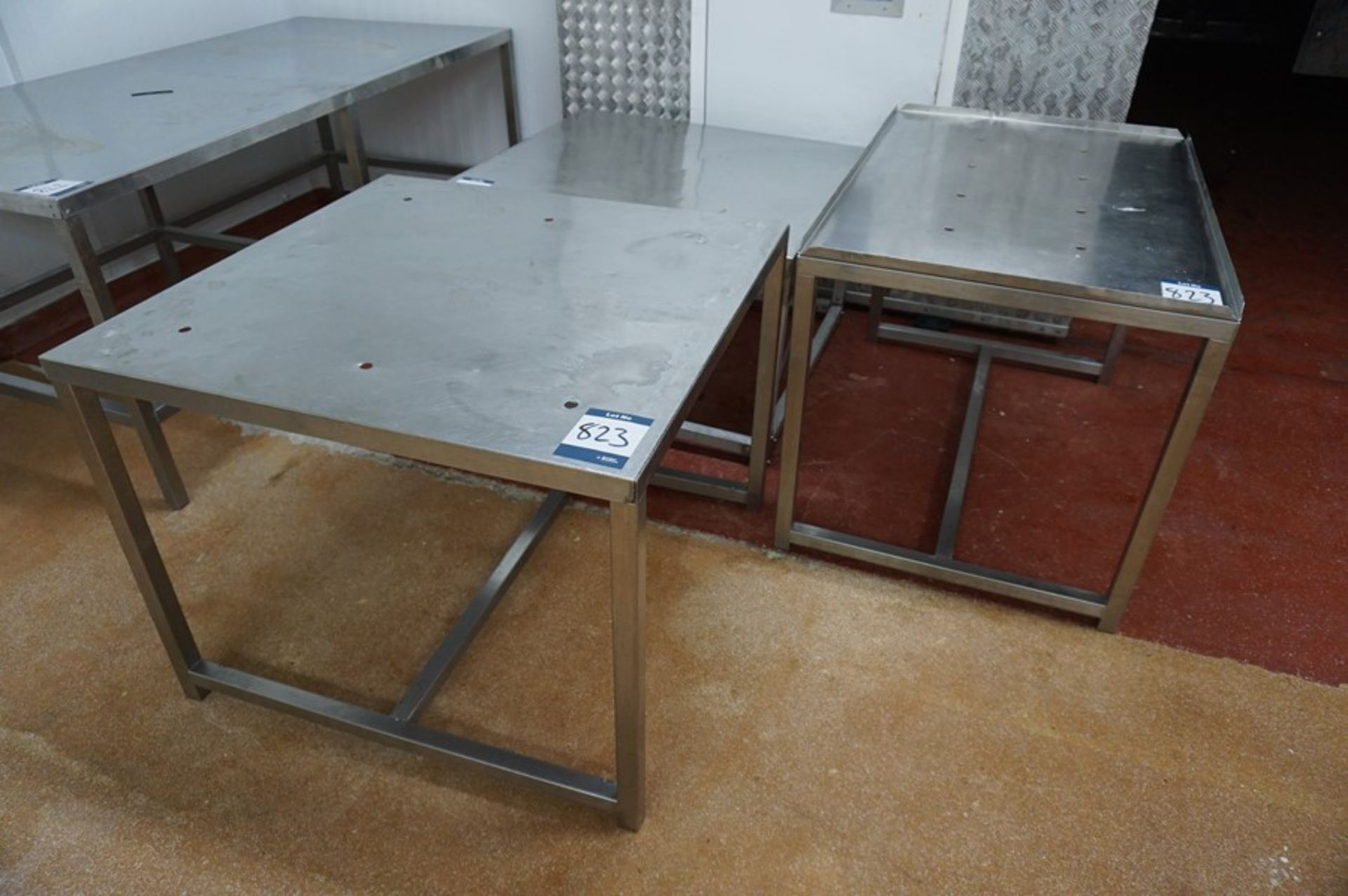 Lot 823 - 3 x Various stainless steel prep tables, as lotted