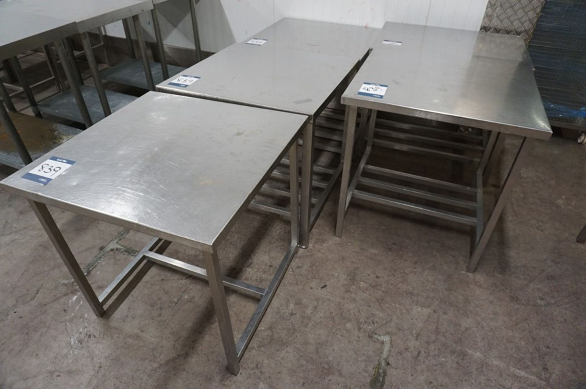 Lot 839 - 5 x Various stainless steel prep tables, as lotted