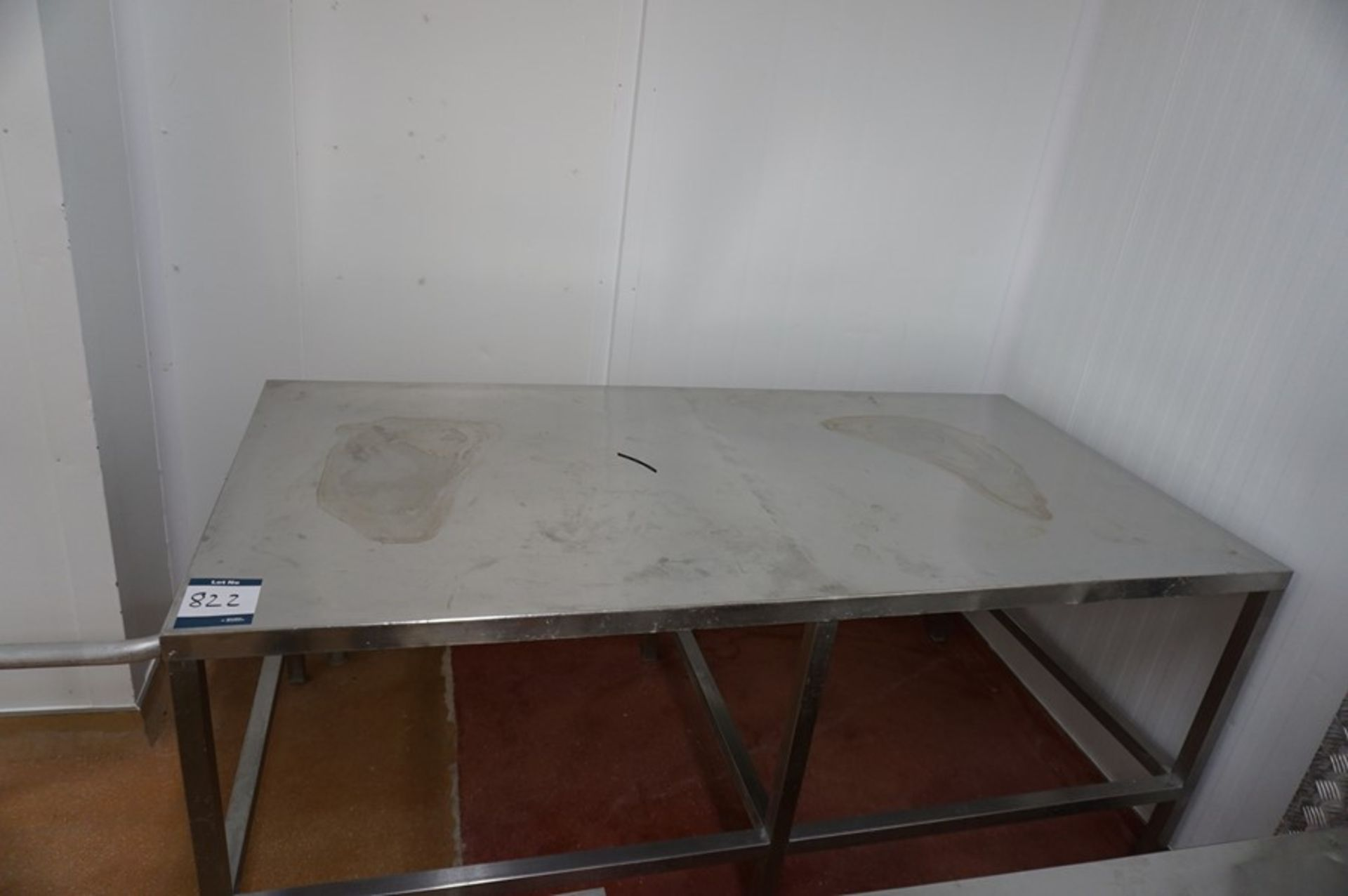Lot 822 - 2 x Various stainless steel prep tables, each 1m x 2m x 0.86m (h) as lotted