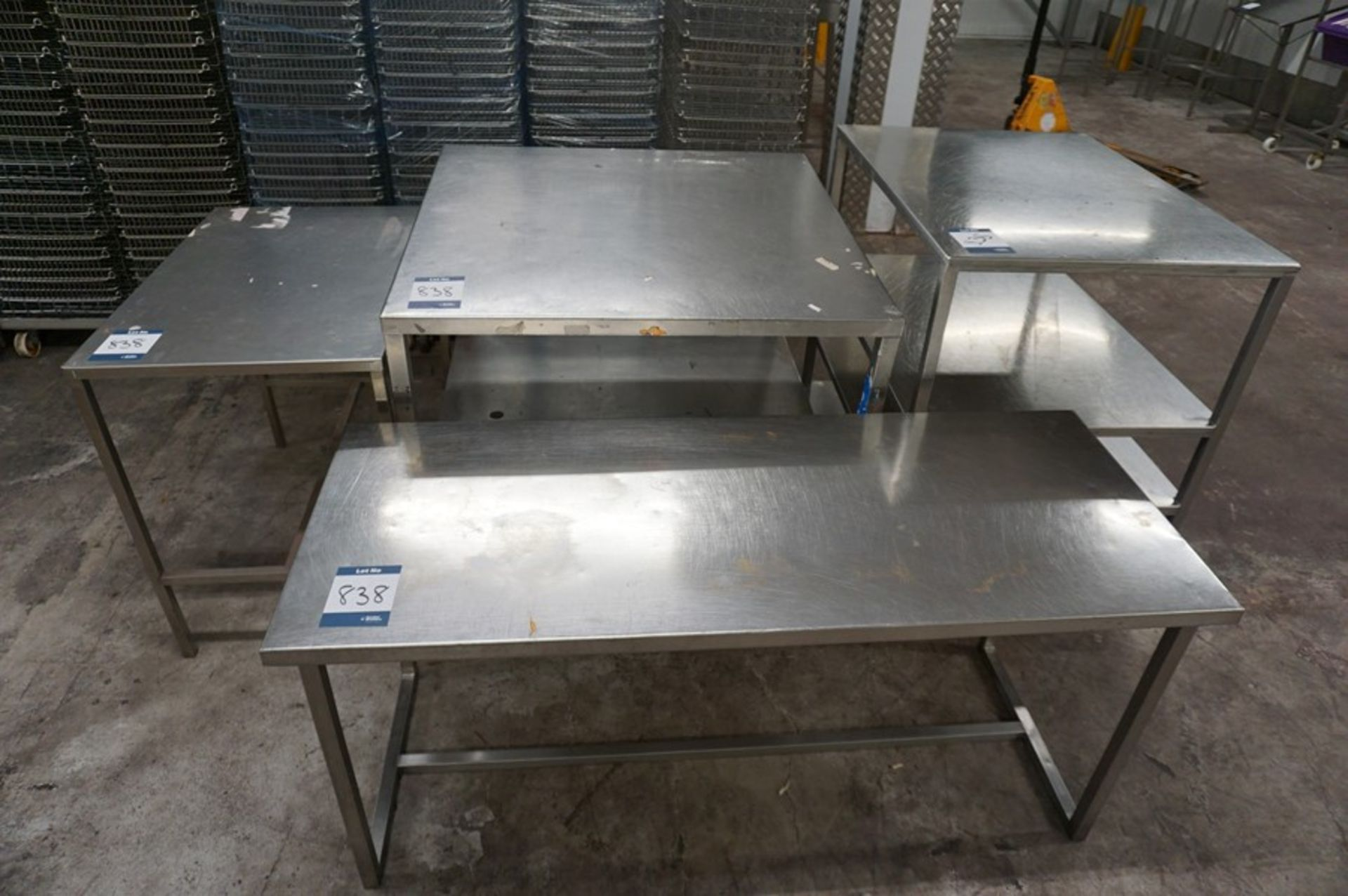 Lot 838 - 4 x Various stainless steel prep tables, as lotted