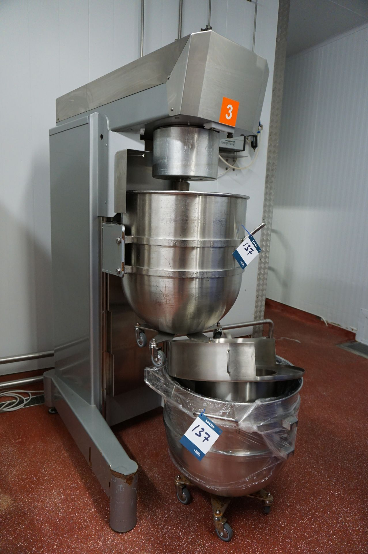 Lot 137 - Brook Foods plant mixer, complete with paddle, whisk, dough hook and 2 x mixing bowls (60cm dia)