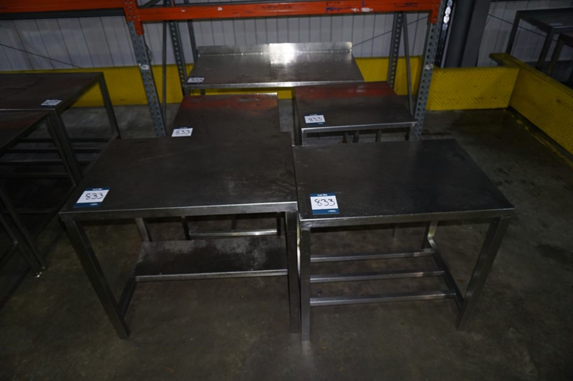 Lot 833 - 5 x Various stainless steel prep tables, as lotted