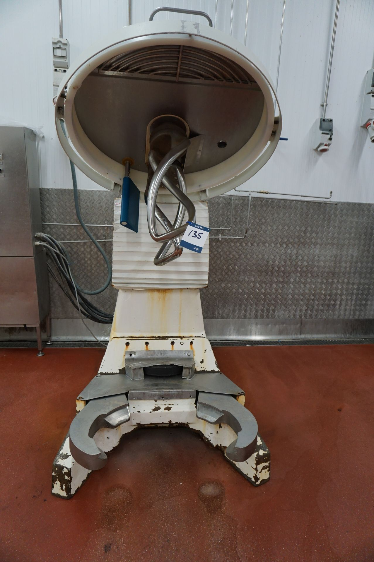 Lot 135 - Diosna, 250kg dough mixer with off station electrical control panel and 2 x mobile mixing bowls (