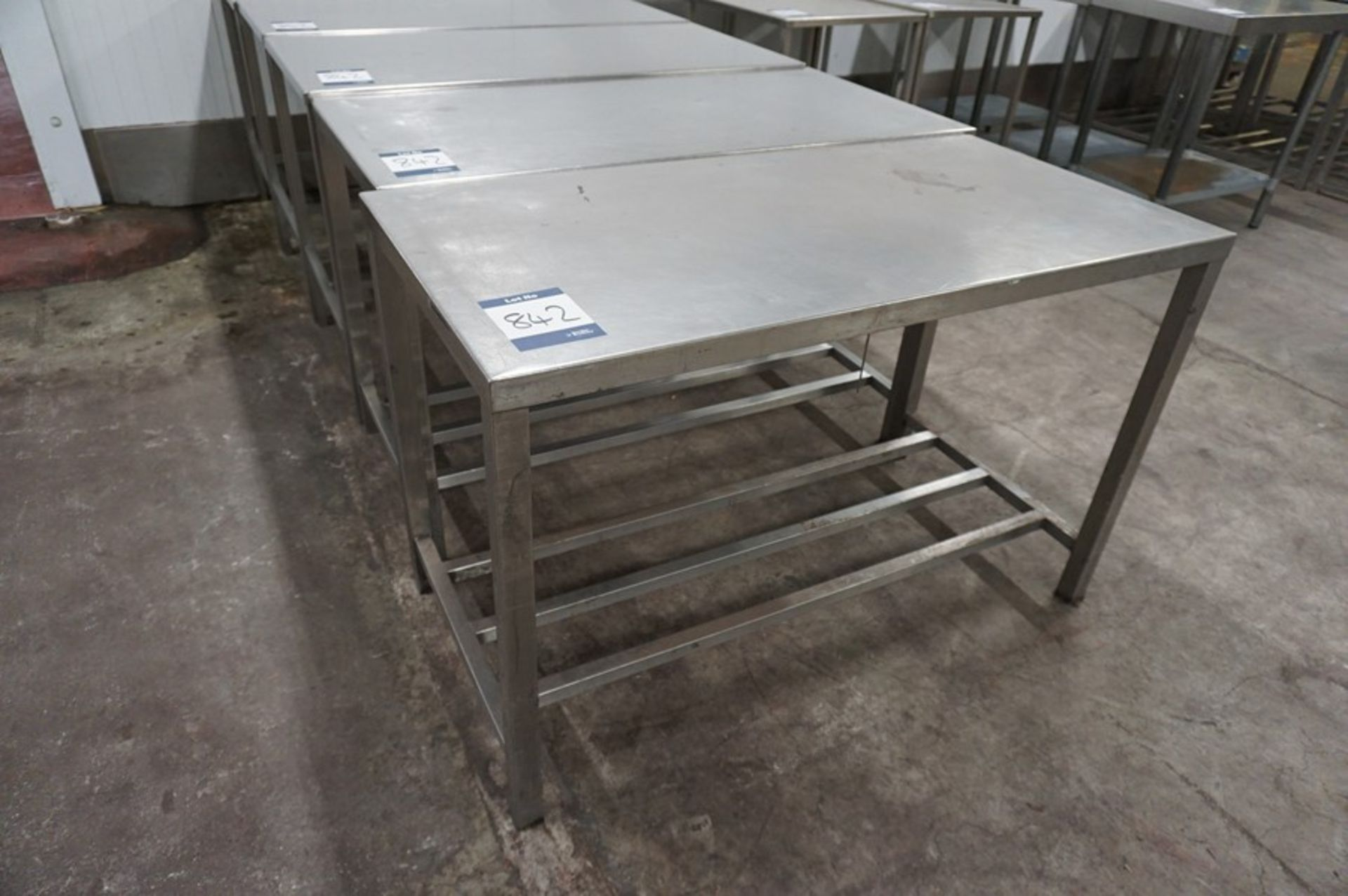 Lot 842 - 5 x Various stainless steel prep tables, as lotted