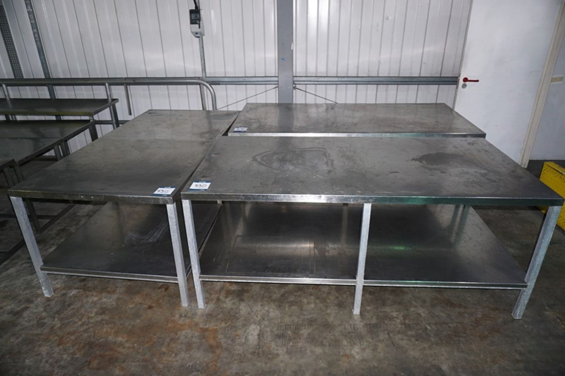 Lot 830 - 3 x Various stainless steel prep tables, as lotted