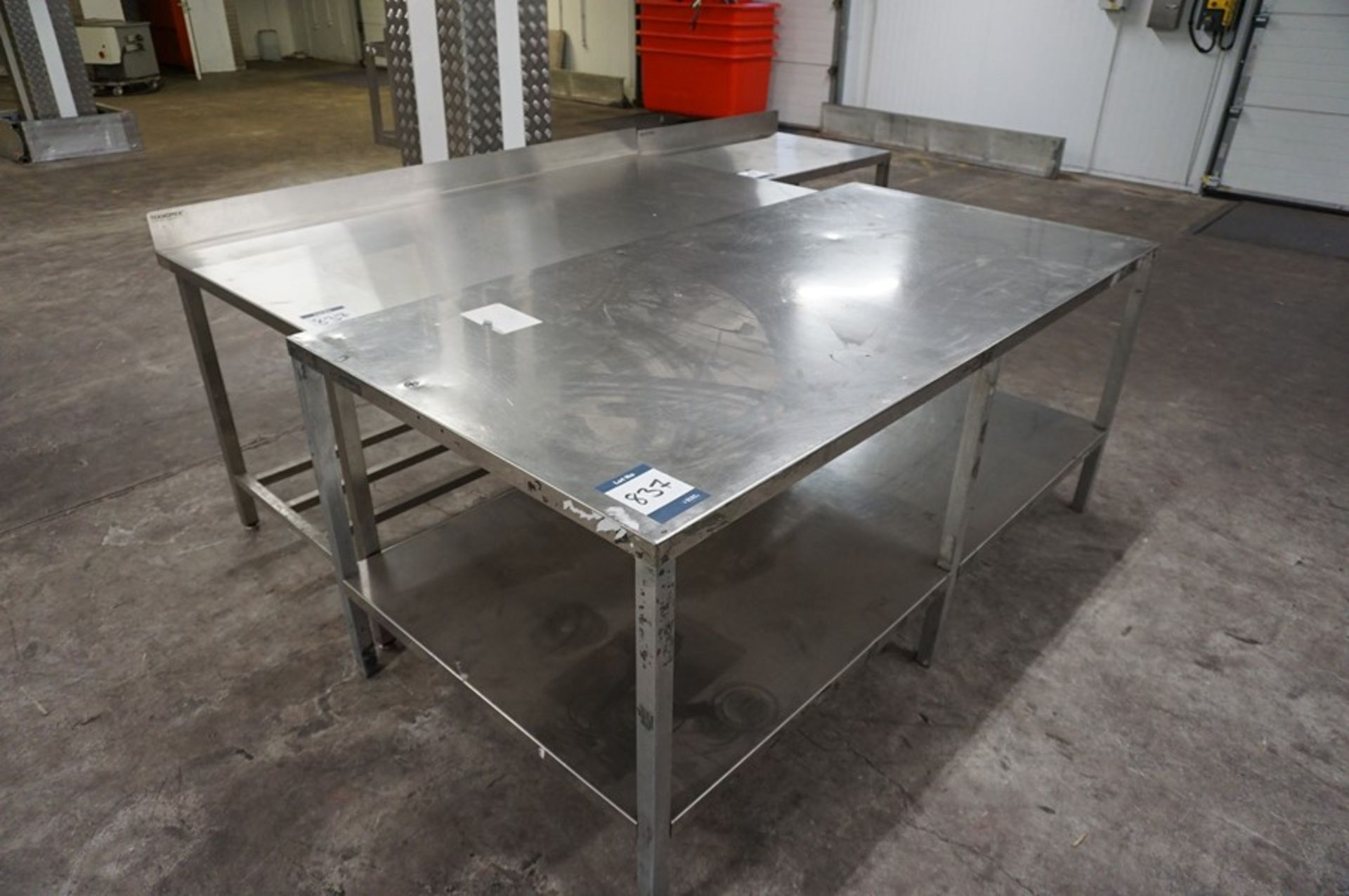 Lot 837 - 3 x Various stainless steel prep tables, as lotted