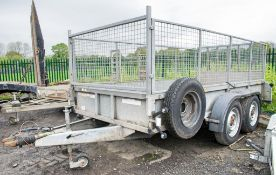 Ifor Williams GD126G 12 ft x 6 ft tandem plant trailer c/w mesh sides & drop down tail board S/N: