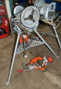 Ridgid 300 110v pipe threader c/w Ridgid tri-stand, foot pedal, cutter & chamfer head