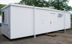 32 foot x 10 foot anti vandal canteen / toilet block comprising canteen with sink unit in one half