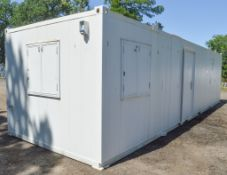 32 ft x 10 ft steel anti vandal site unit Comprising office and kitchen c/w keys in office