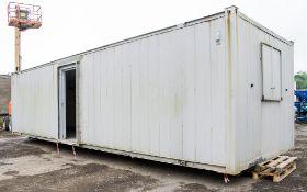 32 ft x 10 ft steel anti vandal office site unit PF1477 ** Both steel external doors missing **