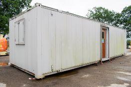 32 ft x 10 ft steel anti vandal office site unit PF1481 ** No keys but open ** ** On steel