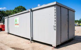 32 ft x 10 ft steel jack leg store site unit c/w keys NG0039708