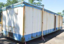 32 ft x 10 ft jack leg steel anti vandal site unit Comprising office and toilets *Doors missing*