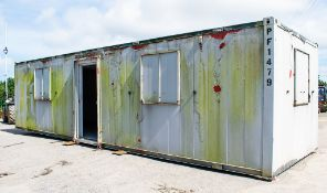 32 ft x 10 ft steel anti vandal office site unit PF1479 ** Door missing **