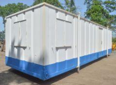 32 ft x 10 ft jack leg steel anti vandal site office unit c/w keys in office BBA1642
