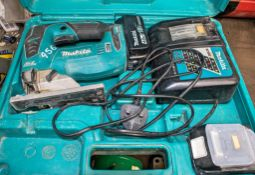 Makita 18v cordless jigsaw c/w 2 batteries, charger & carry case A660737
