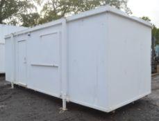 24 ft x 9 ft jack leg steel anti vandal site office unit Comprising kitchen area c/w keys in office