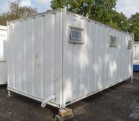 21 ft x 9 ft jack leg steel anti vandal toilet block unit Comprising 4 toilet cubicles, 3 urinals