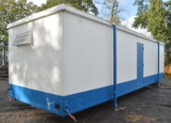 32 ft x 10 ft jack leg steel anti vandal toilet and shower block Comprising of 2 rooms containg;